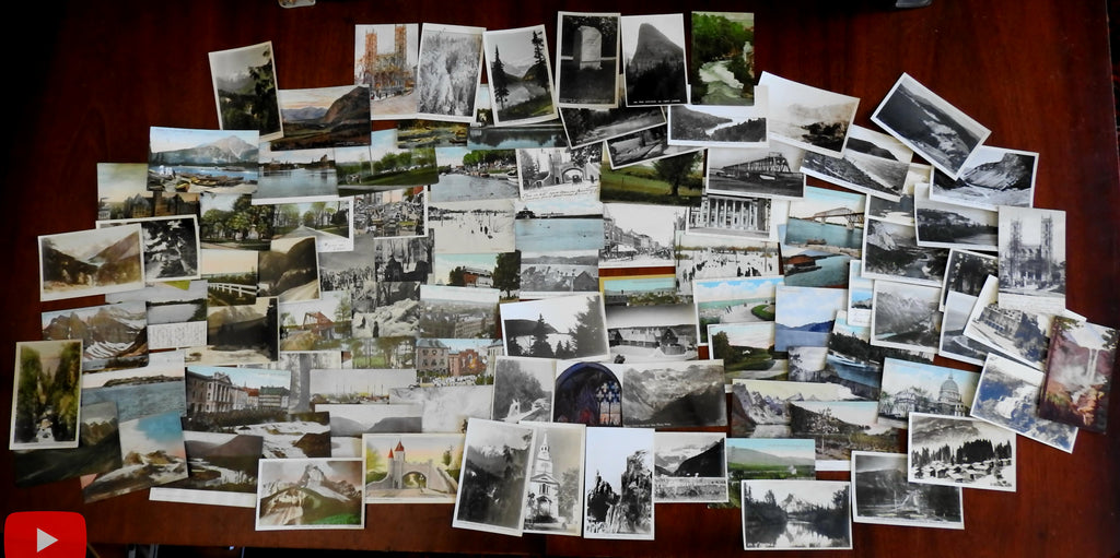 Canada c.1900-40's nice lot of 100 vintage postcards city views winter scenic views