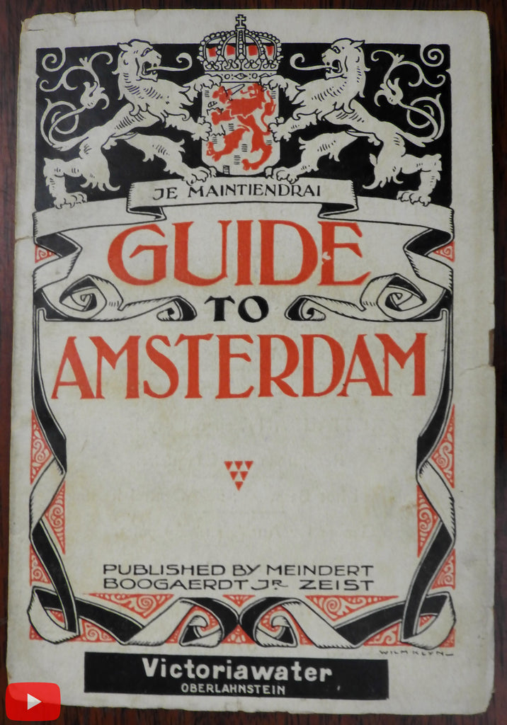 Amsterdam Holland Nederland c.1910 rare guide book w/ lg. folding city map