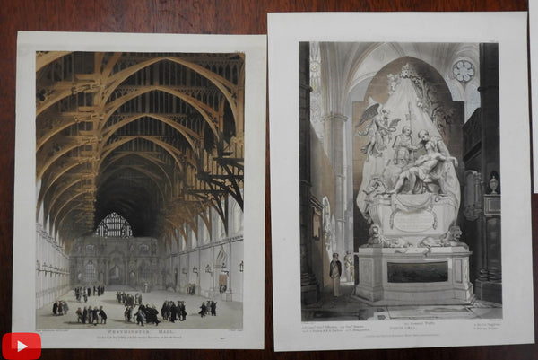 Ackermann aquatints 1809-14 lot of 6 England British Churches Cathedrals London