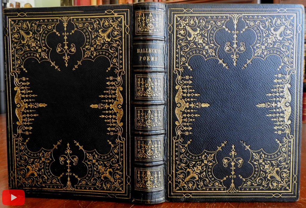 Poetry Works Fitz-Greene Halleck 1847 Splendid decorative leather book