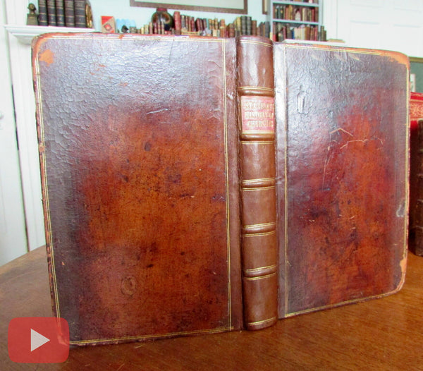 Staveley History Churches in England 1773 rare old leather book