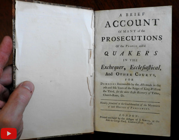 Quakers 1736 Persecutions financial religious history England church state book