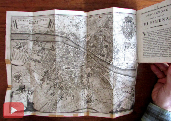 Florence Italy Firenze Italia 1804 rare city guide folding 1784 city plan map