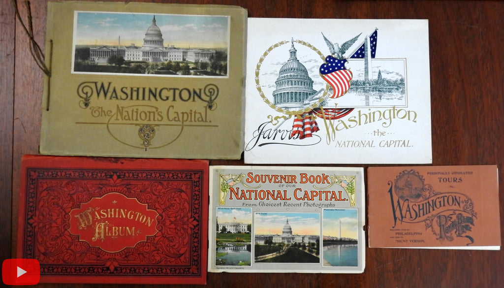 Washington D.C. 1890-1920's Tourist souvenir book lot x 5 w/ many views