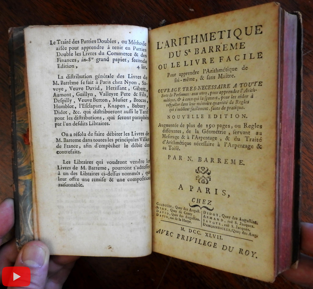 Arithmetic Mathematics textbook 1747 by Barreme rare book France