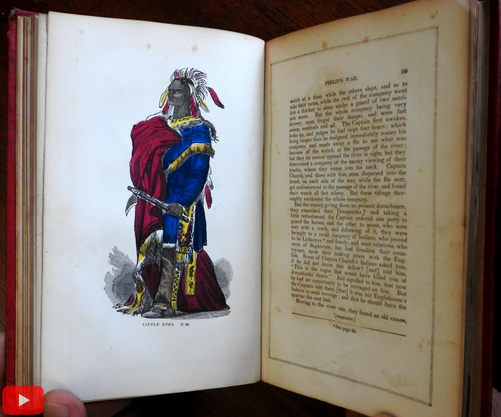 Church's Indian Wars 1675-1704 rare book Drake woodcut plates old color