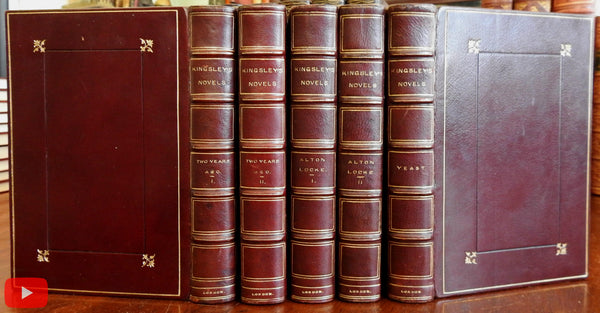 Charles Kingsley Novels 1881 Leather set 5 books Yeast Two Years Alton Locke