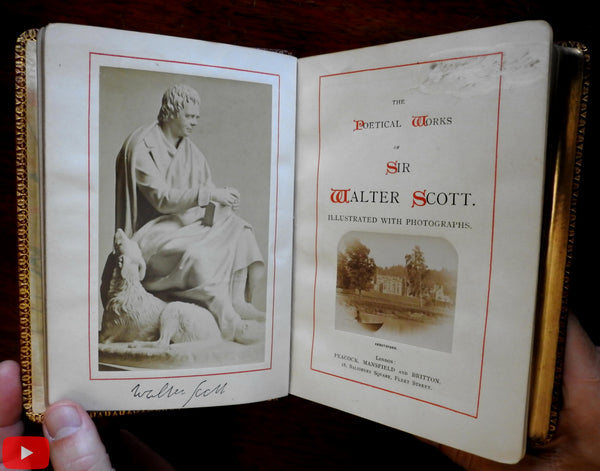 Sir Walter Scott Poetry Works leather book c.1870 w/ 8 albumen photographs