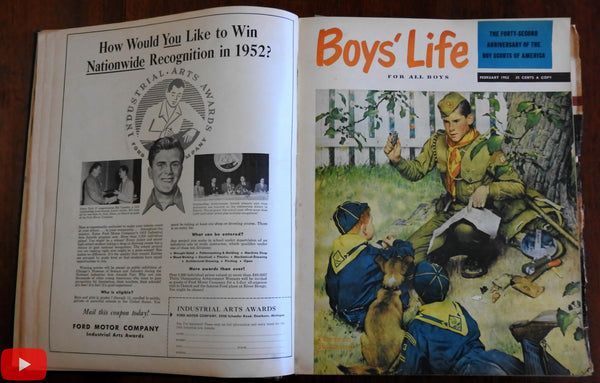 Boy's Life 1952 complete annual run 12 issues w/ comics covers ads
