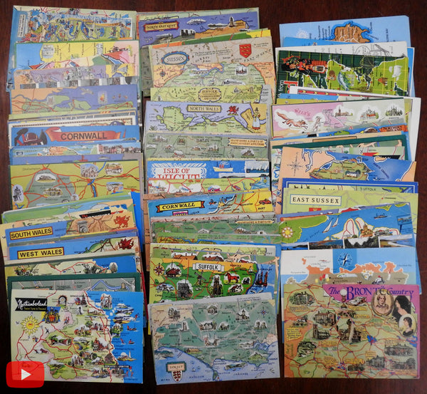 British Isles cartographic cartoon-style postcards 1960's-early 80's lot of 140