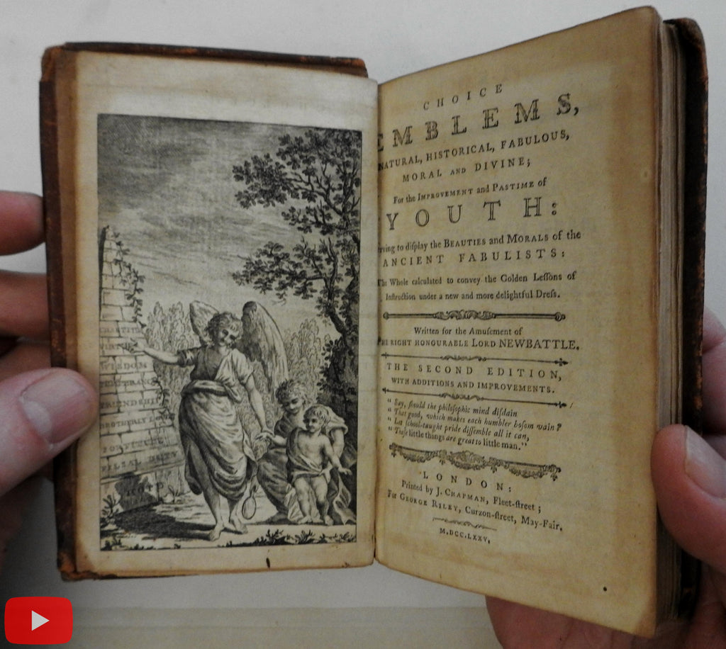 Emblems 1775 Newbattle juvenile w/ 53 woodcuts rare leather book