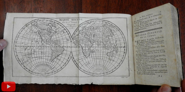 World gazetteer 1783 Vaugondy 15 folding maps pocket atlas Buffier rare book