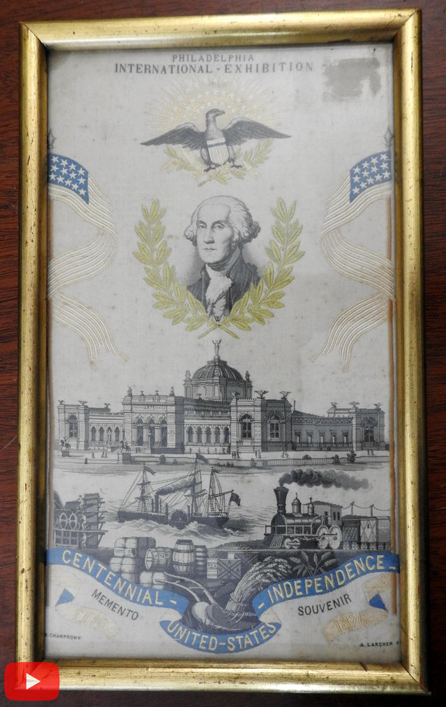 Philadelphia 1876 Expo souvenir silk jacquard George Washington w/ Eagle