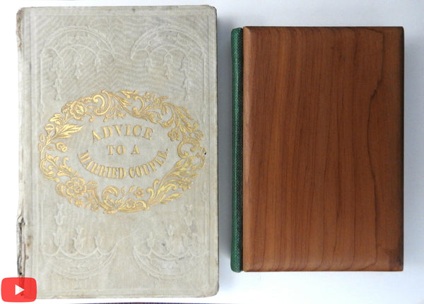 Advice to Married Couple c.1840 & Keats Sonnets wooden covers small books pair