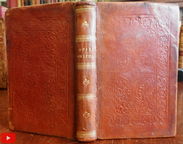 Lying in all branches c.1836 Amelia Opie early embossed leather binding