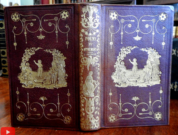 Poems Mrs. Hemans 1843 Griswold decorative gift leather binding rare poetry book