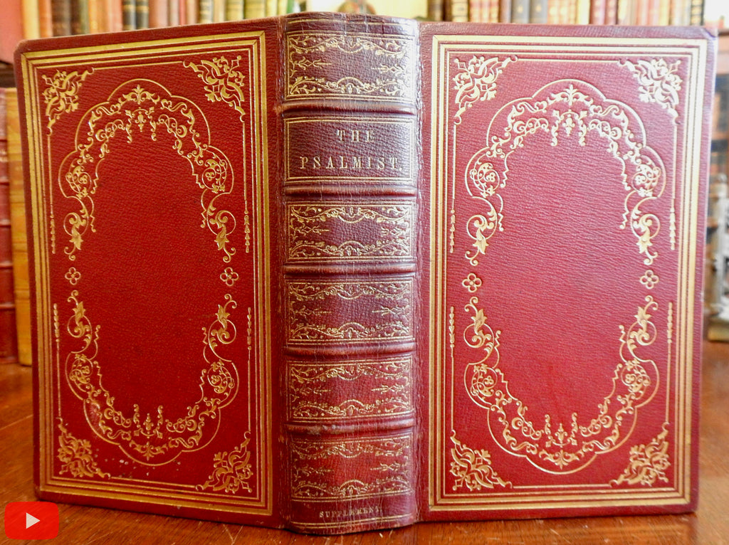 Psalmist 1843 Christianity Prayer songs Baptist leather book binding Fuller & Jeter