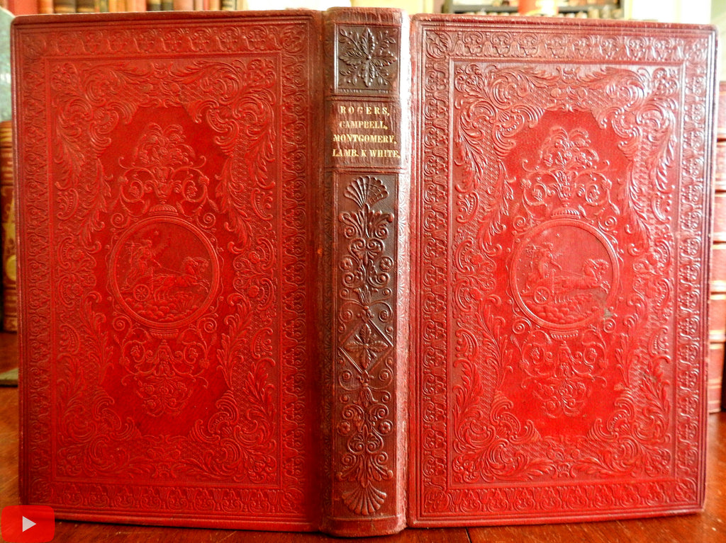 Publisher's 1834 Embossed leather gift binding Poetical Works gift Poetry book