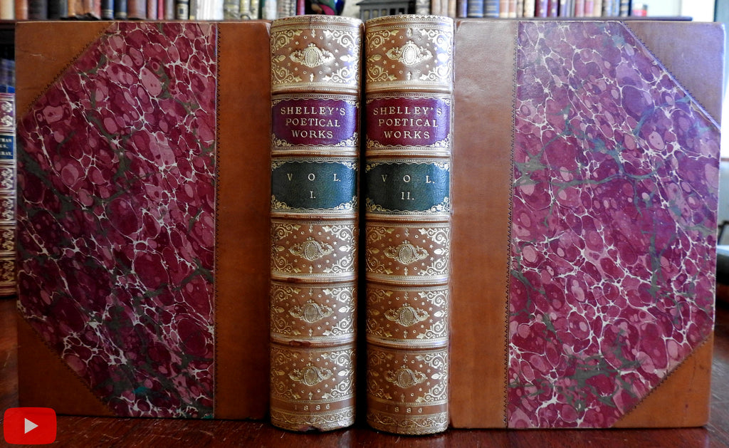 Percy Shelly Complete Poems Poetry 1886 fine Riviere gilt leather bindings 2 vol set