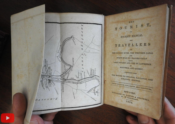 Tourist Pocket Guide 1834 Hudson River Niagara Falls NY w/ long strip map
