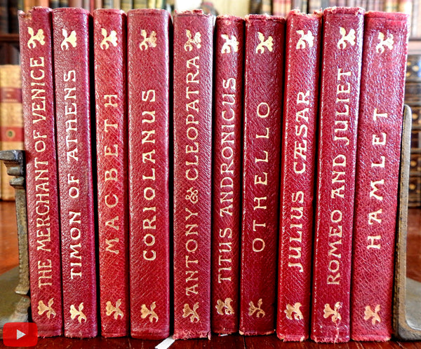 Shakespeare Tragedies c.1906 lot x 10 red leather gilt books lovely set