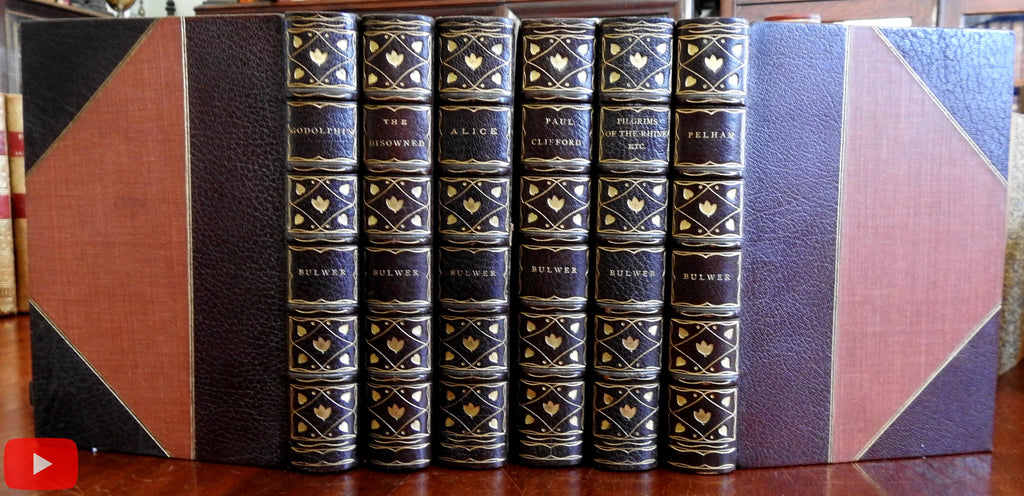 Bulwer Lytton Leather set 6 books 1892 Limited Edition gorgeous Novels bindings