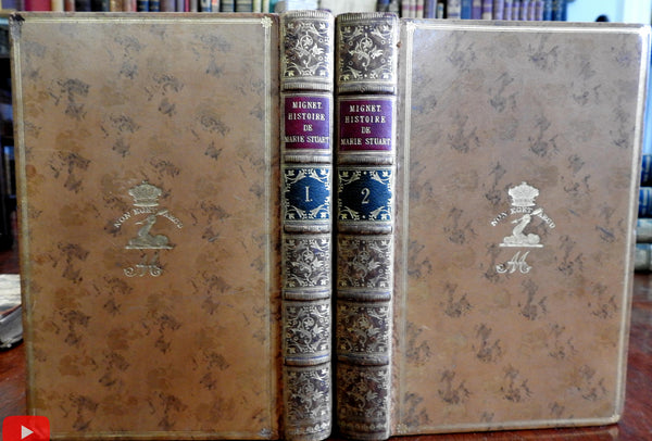 Mary Queen of Scots History 1854 Mignet beautiful 2 vol. leather set French