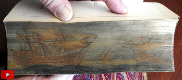 Fore-edge painting tall mast ships stormy sea 1853 rare leather book Poetry Baillie