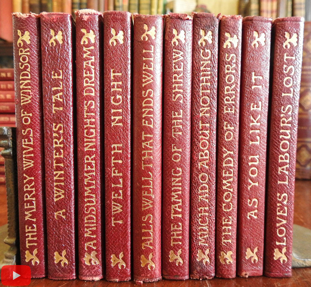 Shakespeare Comedies c.1906 nice lot of 10 red leather books w/ engravings
