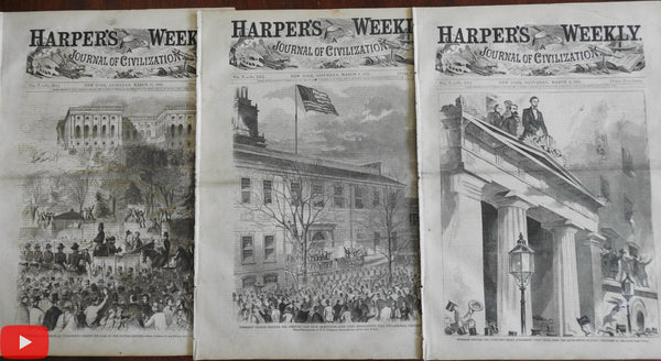 Abraham Lincoln Inauguration 1861 Harper's Weekly 3 complete issues w/ Homer