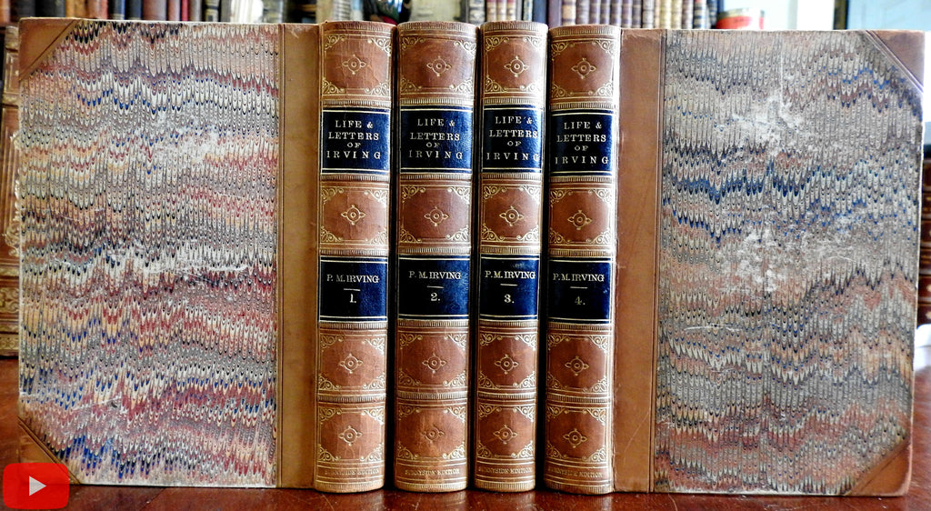 Washington Irving Life & Letters 1864 beautiful 4 vol. leather set w/ engravings