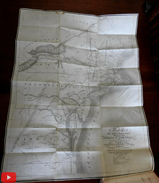 Traveler's Guide 1840 Eastern United States to Canada by Davison w/ large map