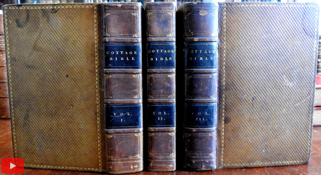 Cottage Bible 1830 Testaments by Williams diced leather set 3 vols. w/ 4 maps