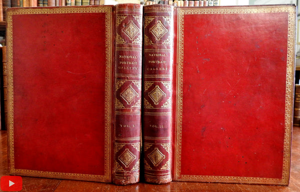 National Portrait Gallery 1834 Longacre beautiful 2 vol. leather set 70 engravings
