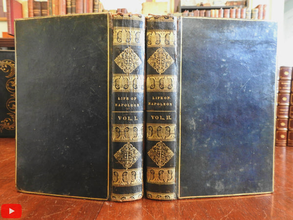 Napoleon Life 1828 Sir Walter Scott American 2 vol. leather set lovely scarce work