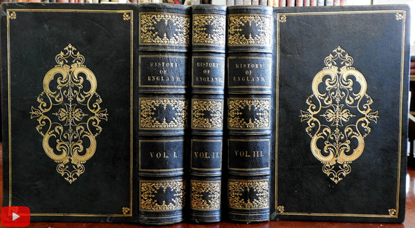 History of England c.1850 Hume Smollett monumental 3 vol. set maps & engraved views