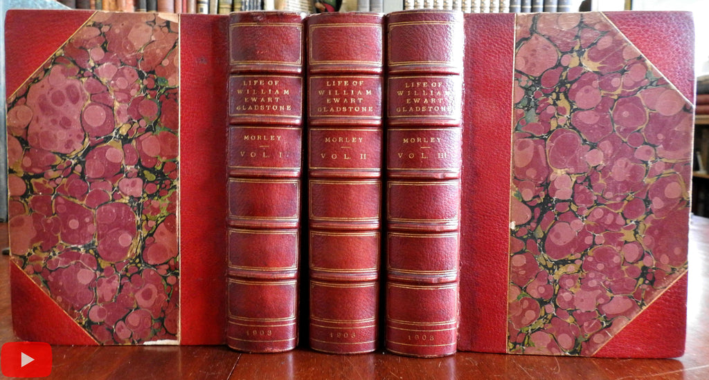 Life of Gladstone British Prime Minister 1903 Morley 3 vol. set fine leather books