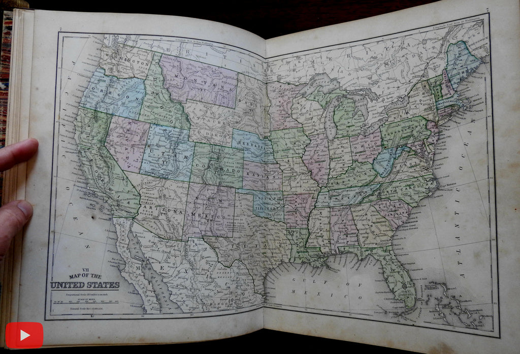 Mitchell World Atlas 1865 rare complete w/ 56 hand colored maps