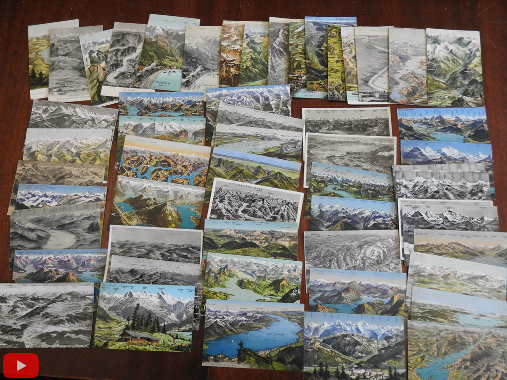 Switzerland Swiss Lakes Mountains c.1915-50 Lot of 55 vintage cartography post cards