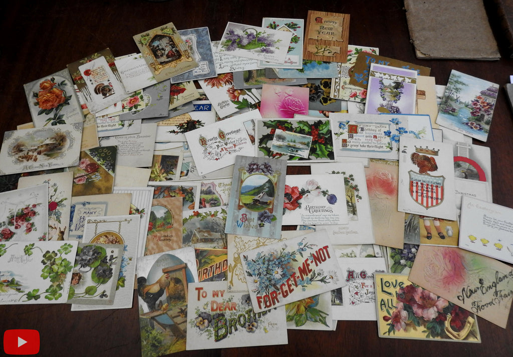 Vintage post card lot x 100 Embossed Greetings Holidays c.1900-20 era nice group