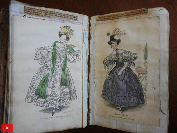 Fashion Plate Illustrations 1831-32 album w/ 108 hand color female costume plates