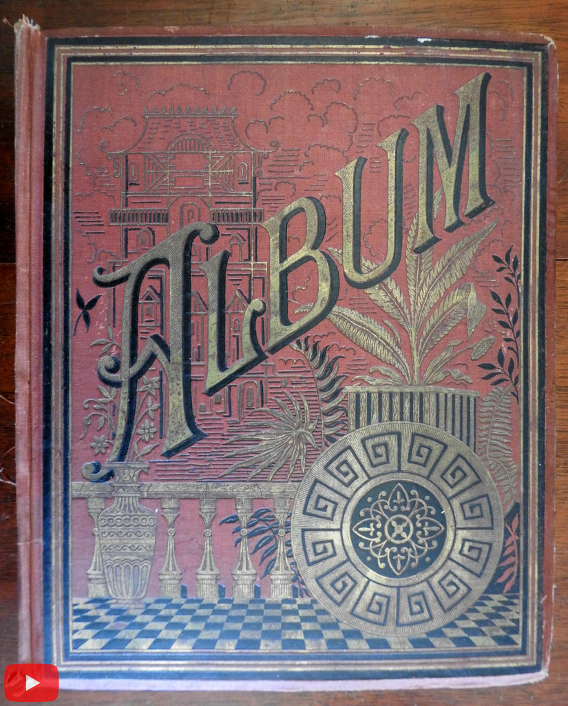 Scrap Album c. 1880-90's very nice w/ 100's of color lithographs & chromo images