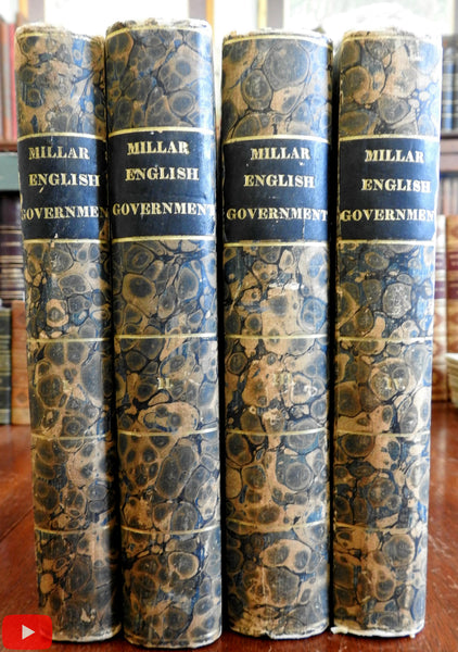 Millar History English Government 1803 rare 4 vol set in marbled paper bindings