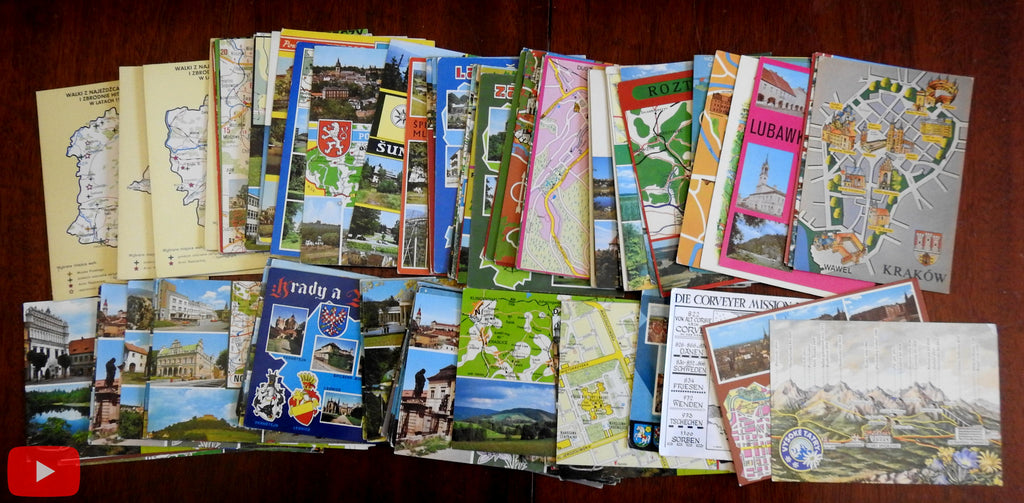 Czech Republic Poland c.1970-80's Cartography Map post cards lot x 122