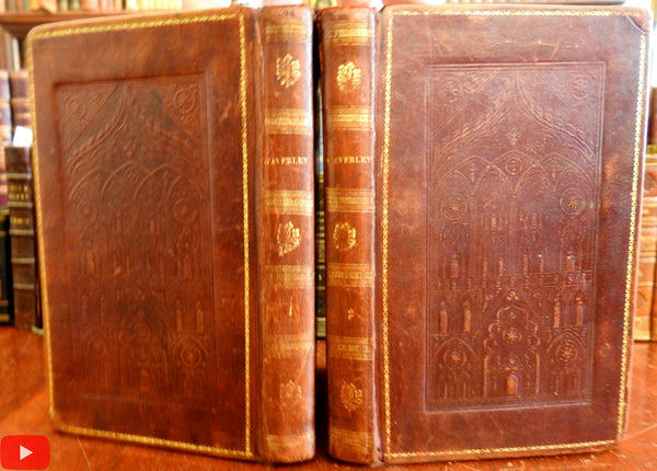 American decorative Cathedral leather bindings 1828 Walter Scott 2 vol set