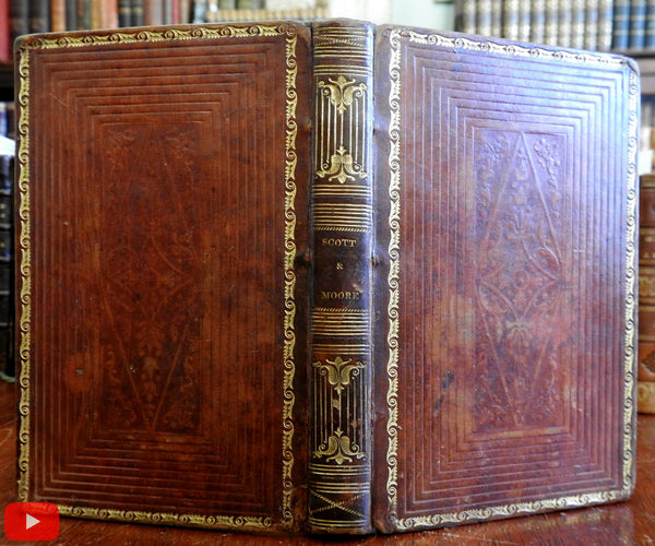 Sir Walter Scott & Thomas Moore Beauties 1826 American gift leather book