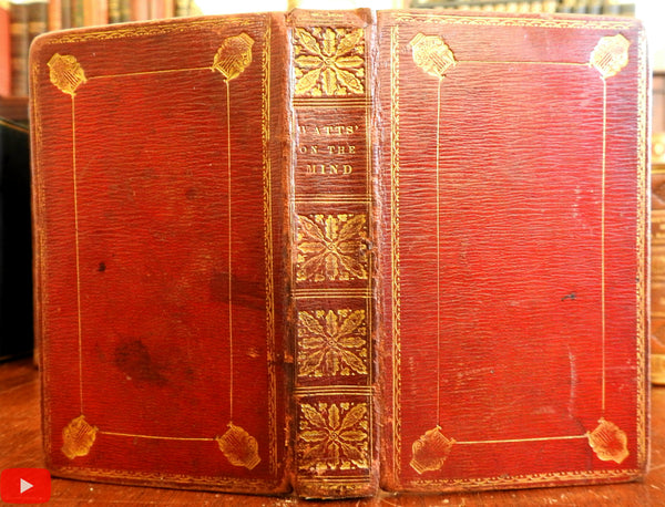 Watts Improvement of Mind for Youth 1832 Gift leather book binding rare