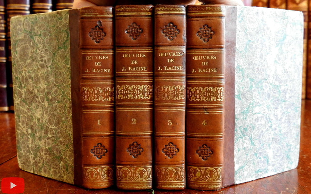 Racine Poetical Works 1824 lovely near miniature 4 vol. set leather French books