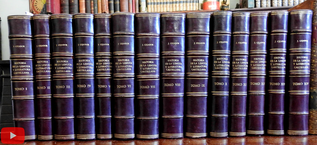 Spain Spanish Castille Castellana Literature Language 1915 Cejador set 14 vols leather