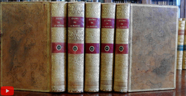 Nature Studies 1804 Etudes de la Nature by Saint-Pierre 5 vol. gorgeous leather set